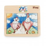 Дървен пъзел от 12 части - Пилета, Pino